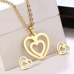 Gold Heart Necklace and Earring Set